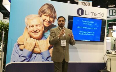 """Presenting Stone Dusting Techniques at the """"AUA Skills Challenge"""" at the Lumenis Booth at the AUA Conference in Orlando, Florida, May 2014"""