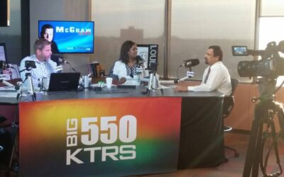 Dr. Chakrabarty discussing Prostate Cancer Awareness Month with Radio Hosts from BIG 550 KTRS
